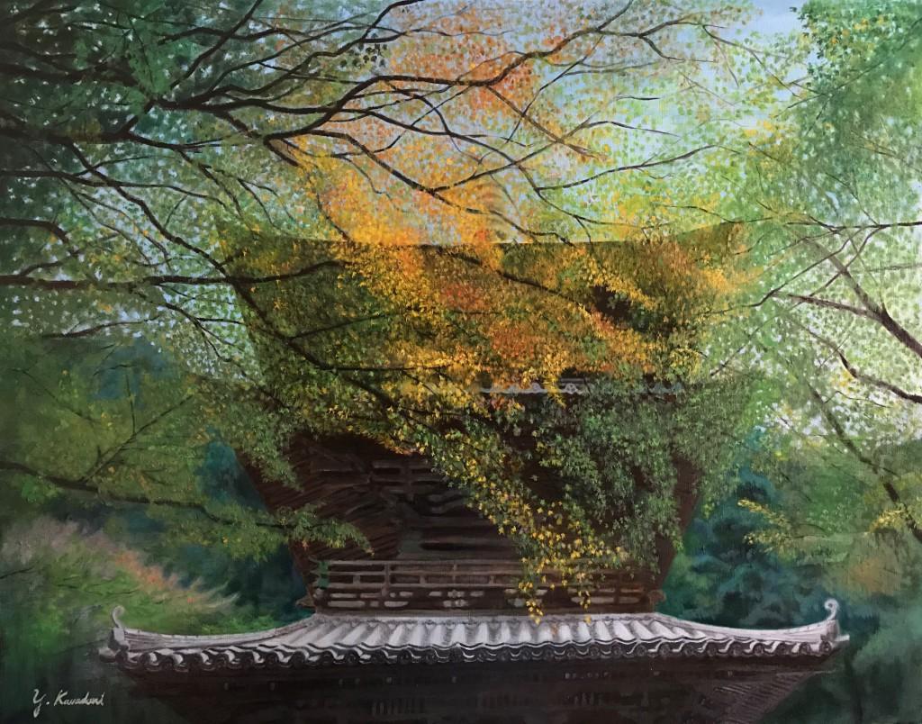 寺の薄紅葉