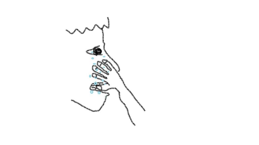 顔を手で触る